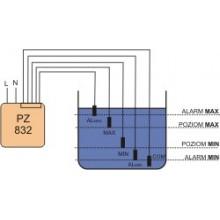 Przekaźnik kontroli poziomu cieczy 16/8A 2x2P 1-100kOhm z regulacją czułości PZ-832 RC