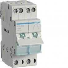 SFB216 Modułowy przełącznik instalacyjny I-O-II, punkt wspólny od dołu, 2-biegunowy 16 A